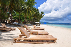 Praia branca tropical perfeita da areia em Boracay Fotos de Stock Royalty Free