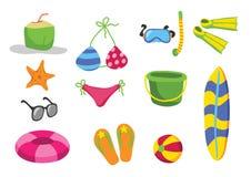 A praia brinca desenhos animados do vetor Imagem de Stock