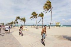 Praia Broadwalk de Hollywood, Florida Imagens de Stock