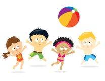 A praia caçoa multi-ethnic ilustração stock