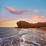 Praia Cabo de Gata de Almeria Playa del Monsul Imagens de Stock Royalty Free