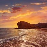 Praia Cabo de Gata de Almeria Playa del Monsul Imagem de Stock Royalty Free