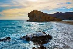 Praia Cabo de Gata de Almeria Playa del Monsul Foto de Stock Royalty Free