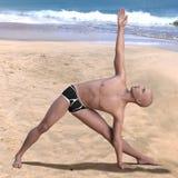 Praia calva do homem da pose de Trikonasana foto de stock