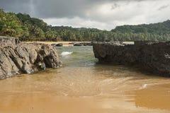 Praia Coco, Sao Tome and Principe, Africa. Praia Coco on an overcast day, Principe Island, Sao Tome and Principe, Africa Royalty Free Stock Photo