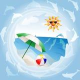 Praia com guarda-chuva Imagens de Stock Royalty Free