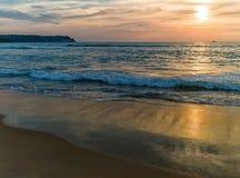 Praia com palmeiras Imagens de Stock