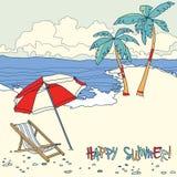 Praia com palmeiras e cadeira de praia verão Foto de Stock