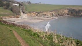 Praia Cornualha Inglaterra Reino Unido de Porthcurnick video estoque