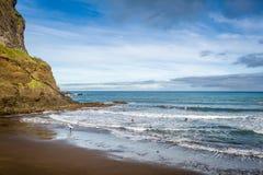 Praia DA Alagoa, Madeira-Insel der Strand des Surfers stockfoto