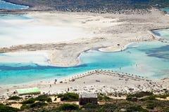 Praia da areia branca pura em Balos Imagens de Stock Royalty Free