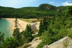 Praia da areia do Acadia fotos de stock royalty free