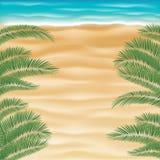 Praia da areia do mar da vista superior com a folha da árvore de coco ilustração do vetor