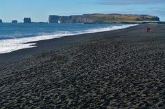 Praia da areia do preto de Reynisfjara, Islândia fotos de stock royalty free