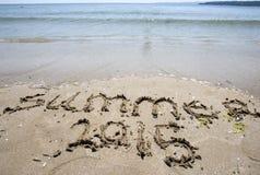 Praia da areia do verão 2015 Fotografia de Stock
