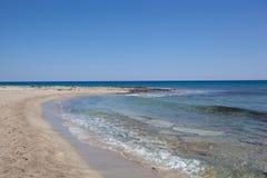 Praia da areia, ilha de Chrissi fotos de stock royalty free