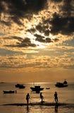Praia da armacao buzios. Sunset over praia da armacao in the beautiful typical brazilian city of buzios near rio de janeiro in brazil Stock Photo