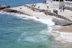 Praia da Azarujinha, beach in Estoril, portugal. Summer Stock Photos