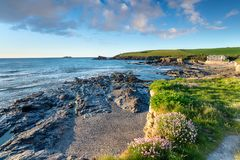 Praia da baía de Trevone Imagens de Stock Royalty Free