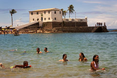 Praia da Barra, Salvador, Brazil. Praia da Barra is the most popular beach of Salvador de Bahia, the third most populous Brazilian city, after Sao Paulo and Rio stock image