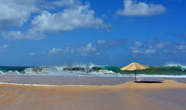 Praia da Caciman e l'ombrello - Fernando de Noronha immagine stock