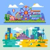 Praia da cidade do verão, paisagens do parque de diversões Fotografia de Stock