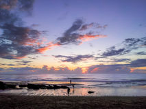 Praia DA Cresmina bij zonsondergang, Algarve, Portugal Royalty-vrije Stock Foto