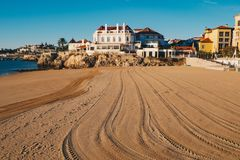 Praia da Duquesa beach in Cascais Portugal in the morning empty. With no tourists on the beach in Lisbon district, Portugal royalty free stock photos