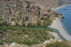 A praia da floresta da palma de Preveli na Creta Fotos de Stock