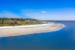 Praia da ilha de Jekyll da vista aérea fotografia de stock