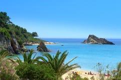Praia da ilha de Kefalonia Foto de Stock Royalty Free