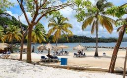 Praia da ilhota de Gros, St Lucia Imagem de Stock