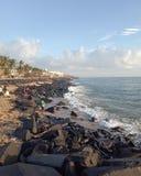 Praia da manhã pondicherry fotografia de stock