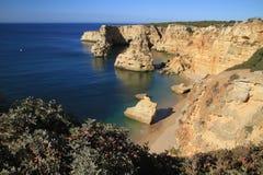 Praia da Marinha. A summer day at Marinha beach, Lagoa, Algarve, Portugal stock photo