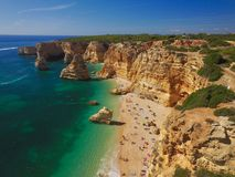 Praia da Marinha, Algarve. Arial shot of beautiful praia da Marinha, beach, Algarve, Portugal royalty free stock images