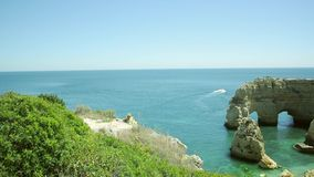 Praia da Marinha - one of the best beach in the world Stock Image