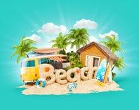 A praia da palavra feita da areia na ilha tropical Ilustra??o 3d incomum de f?rias de ver?o Conceito do curso e das f?rias ilustração royalty free