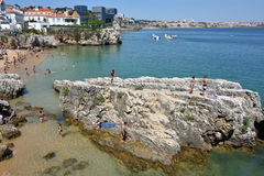 Praia da Rainha public beach. Cascais. Portugal Royalty Free Stock Photos