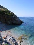Praia da reserva natural do Zingaro foto de stock