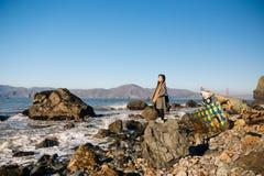 Praia da rocha da milha foto de stock royalty free