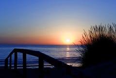 Praia DA Tocha Portugal de coucher du soleil Photographie stock libre de droits