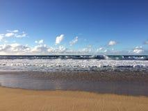 Praia das areias do descascamento no parque estadual de Polihale na ilha de Kauai, Havaí Fotografia de Stock Royalty Free
