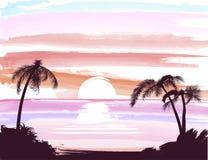 Praia das palmas no por do sol ilustração stock