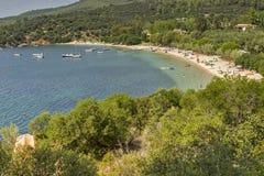 Praia de Agia Kiriaki, Chalkidiki, Sithonia, Macedônia central Foto de Stock