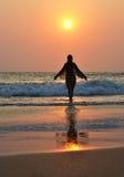 Praia de Agonda Goa sul, Índia Imagem de Stock Royalty Free
