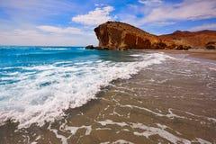 Praia de Almeria Playa del Monsul em Cabo de Gata Fotografia de Stock