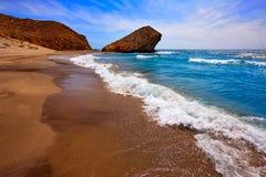 Praia de Almeria Playa del Monsul em Cabo de Gata Fotos de Stock