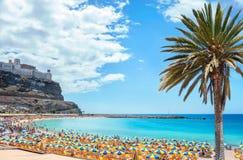 Praia de Amadores Gran Canaria, Ilhas Canárias, Espanha imagem de stock