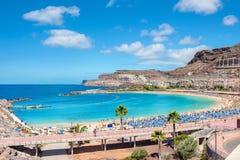 Praia de Amadores Gran Canaria, Ilhas Canárias, Espanha imagens de stock