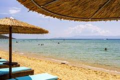 Praia de Ammolofoi, região de Kavala, Grécia do norte fotos de stock royalty free